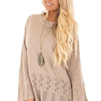 Latte Long Sleeve Sweater with Sheer Crochet Details