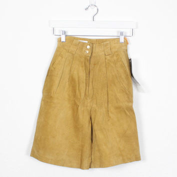 Vintage Leather Shorts Deat Stock Vintage Soft Suede Shorts High Waisted Shorts Camel Tan 1980s Shorts Mom Shorts 80s Shorts XS Extra Small