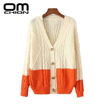 Autumn Winter Cardigans Fashion Patchwork V Neck Knitted Sweater Mixed Contrast Color Women Cardigan