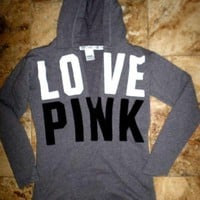 DCCK7XP Victoria's Secret PINK Women's Fashion Letter Print V-neck Long-sleeves Pullover Tops Sweater