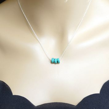 Sterling Silver Turquoise Bar Necklace - Faceted Turquoise - Turquoise Necklace - Turquoise Jewelry