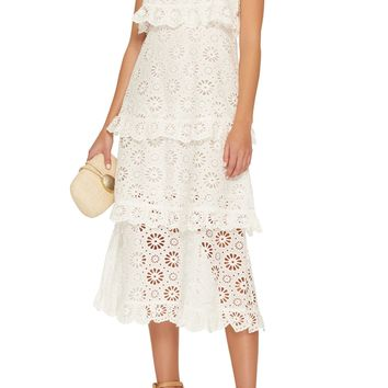 Mya White Lace Ruffled Midi Dress