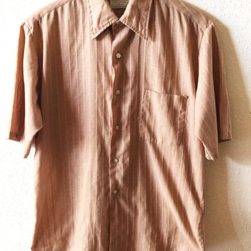 Vintage Apparel, Men's , Brown, Pink, Striped, Short Sleeve, Button Down, Dress Shirt, by JcPenney, Size Medium