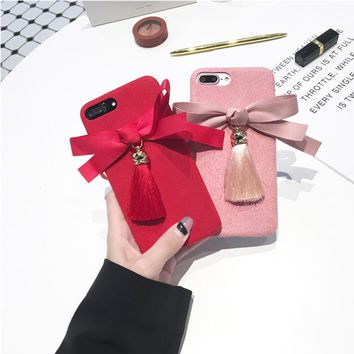 JiBan Tassel bow for iphone X mobile phone shell Chinese red festive microfiber flannel soft shell for iphone 6 6s 7 plus case