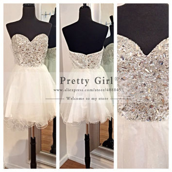 2016 Vestido De Festa Curto Big Rhinestone Beading Bodice Sweetheart Sexy Party Dress Short Open Back Cocktail Dresses