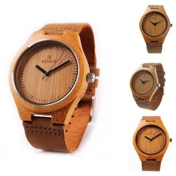 Lover`s Bamboo Wood Watch Fashion And Casual Gifts With Genuine Leather Strap Beautiful PT