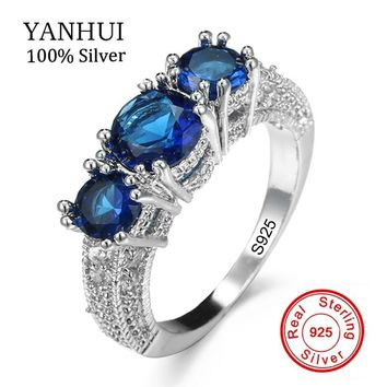 Best Selling 7 Colors Authentic 100% 925 Sterling Silver Ring Set 3pcs Natural Gem Stone CZ Ring Original Wedding Jewelry KRA078