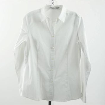 UNIQLO White Cotton Button Front Long Sleeve Collared Shirt Top Size L
