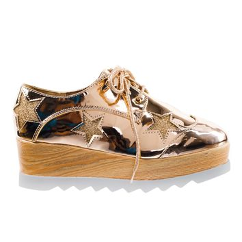 Besty02 Rose Gold 90's Wooden Platform Lug Sole Creepers Oxford Brogue w Glitter Star