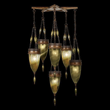 Fine Art Lamps 718340-1ST Scheherazade Six-Light Pendant in Aged Dark Bronze Finish and Hand Blown Glass in Vibrant Oasis Green Color