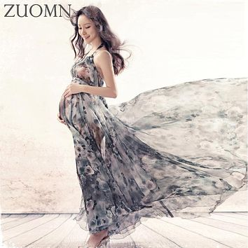 Maternity Dress for Photo Shoot Maxi Maternity Gown Pregnant Woman Photography Props Clothes aternity Chiffon Gown YL543