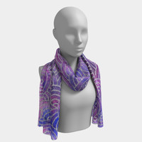 Purple and faux silver swirls doodles Long Scarf Long Scarf