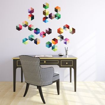 25 Modern Boho Hexagon Wall Decals, Peel and Stick Repositionable Fabric Wall Stickers