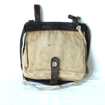 SWISS ARMY Bread Bag, Early 1900s, Leather and Canvas, Military Crossover Messenger Bag, Haversack, Pannier, Fishing, Made in Switzerland