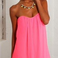 Neon Pink Chiffon high low Dress strapless Loose Flowy Girly Boho Party Sexy