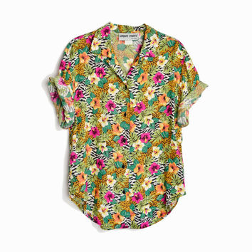 Vintage 80s Floral Hawaiian Shirt with Animal Print / Tropical Party Shirt - women's medium
