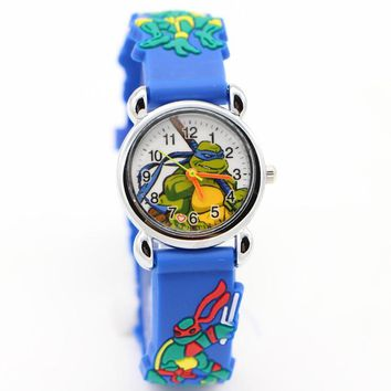 TMNT Fashion Teenage Mutant Ninja Turtles 3D Child Watch Silicon Cartoon Kids Sport Watch Boy quartz watch Relogios feminino