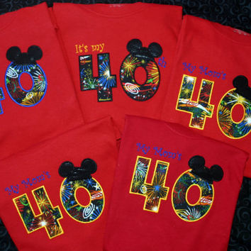 5 piece Combo set Custom Made to order Personalized Mickey or Minnie Mouse Shirt  BIRTHDAY COMBO SeT