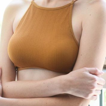 High neck Ribbed Bralette - Mustard