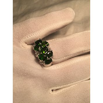 Vintage Handmade Genuine Green Chrome Diopside Setting 925 Sterling Silver Gothic Ring
