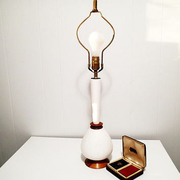 Vintage Mid Century small white textured table lamp, Scandinavian Danish Modern with wood base and connecting piece