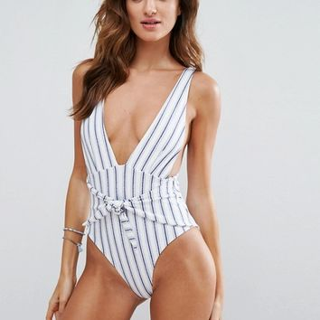 Skye & Staghorn Striped Plunge Swimsuit With Tie Front at asos.com