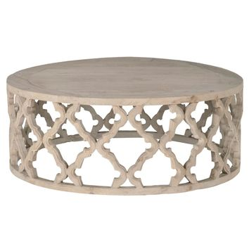Clover Large Round Coffee Table Smoke Gray Recycled Wood