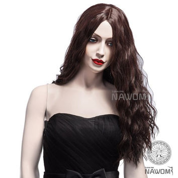 NAVIS Long Curly Brown Synthetic Hair Wig Matt High-Temperature Wavy Side Bang Wigs
