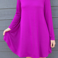 Ellington Pink Sapphire Long Sleeve Piko Dress