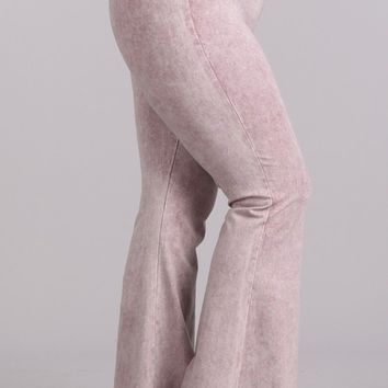 Chatoyant Plus Size Mineral Wash Flare Pants in Light Pink