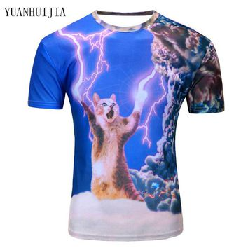 2017 New arrivals brand clothing 3D Printed Thunder cat T-Shirt fearless kitty cat playing with lightning t shirts