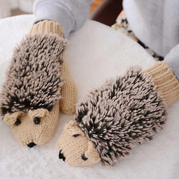 Cute Cartoon Hedgehog Knitted Gloves Lovely Gift