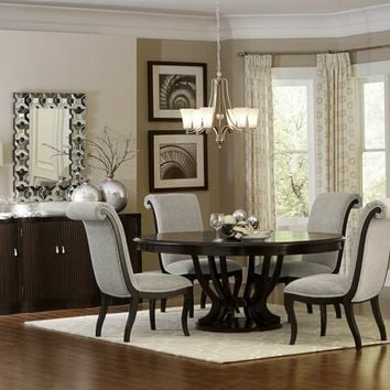 7 pc Savion collection espresso finish wood pedestal round / oval dining table set