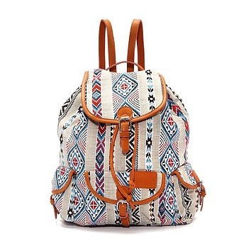 Large Bohemian Jacquard Backpack - Serape