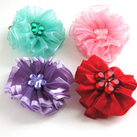 Colorful Dog Hair Bows Set of 4 Mix and Match