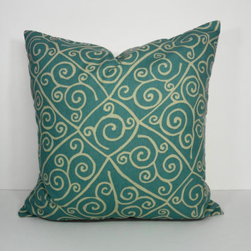 Decorative Aqua Pillow Cover,  Blue Throw Pillow Cushion, 20 x 20