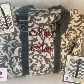 Grey Damask Large Organizer Tote Bag  perfect every Day Tote !!SPECIAL PRICE !!