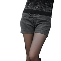 Women Low Waist Faceted Studded Worsted Shorts Pants Dark Gray M