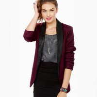 BB Dakota Zane Blazer - Burgundy Blazer - Leather Lapel Blazer - $98.00