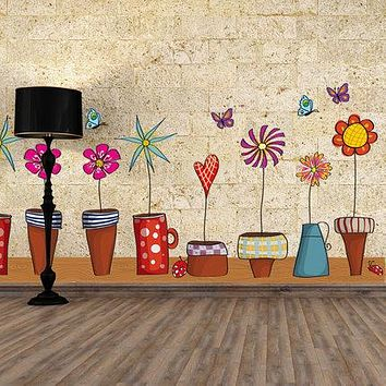 Pot Plant Flower Butterfly Nature Lovely Window Wall Decal PVC Wall Sticker Home Decor Decoration DIY Home Living Room