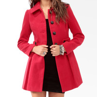Pleated Button Tab Coat