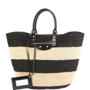 ONETOW balenciaga panier large striped raffia tote bag 2
