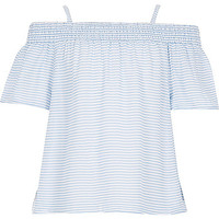 River Island Girls blue cheesecloth stripe bardot top