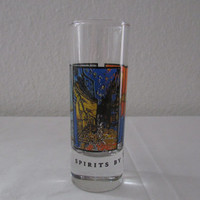 14-1138 Vintage 1990s Vincent Van Gogh Shot Glass / Spirits By Vincent Van Gogh / Tall Shot Glass / Art Glass / Van Gogh / Cocktail Glass