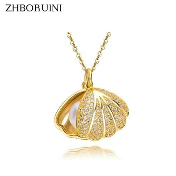 Seashell Pendants 925 Natural Freshwater Pearl Sterling Silver Necklace
