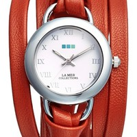 Women's La Mer Collections 'Saturn' Leather Wrap Watch, 32mm