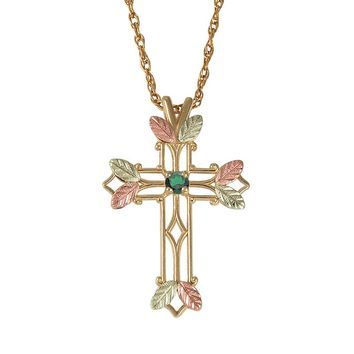 Black Hills Gold Tri-Tone Emerald Leaf Openwork Cross Pendant (Green)