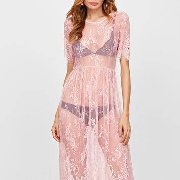 Pink Floral Lace A Line Sheer Dress