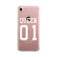Queen01 Couple Matching Phone Case Cute Clear Phonecase