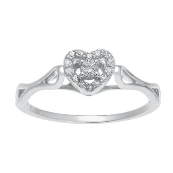 Sterling Silver 1/10 ct. TDW Diamond Heart Promise Ring